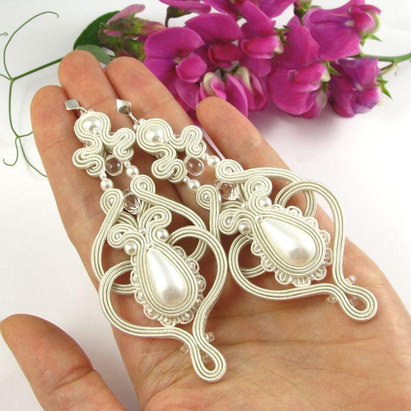 www.pillowdesign.pl  #bridal #wedding #pearls #swarovski #lace #ivory #silver #soutache