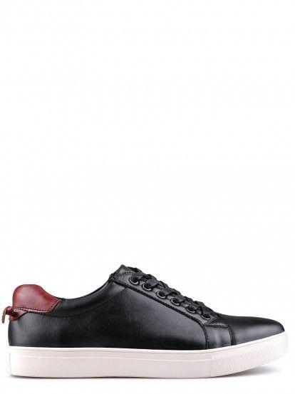 Pantofi sport de bărbați din piele naturală TENDENZ - negru