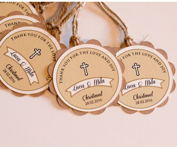 Rustic Baptism Favor TagсDouble layered tags, base from heavy brown card, second