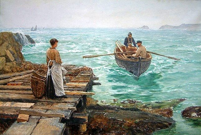 Charles Napier Hemy - Waiting - 1895 watercolour