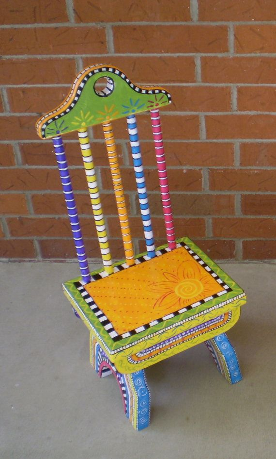 Bright Sunny Hand Painted Child Size Chair by Bofranky on Etsy, $200.00