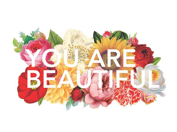 You are Beautiful Floral collage vinyl diecut by ShawnaArmstrong, $5.00