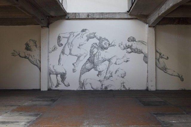 renaissance mural made completely of staples! artist: baptiste debombourg
