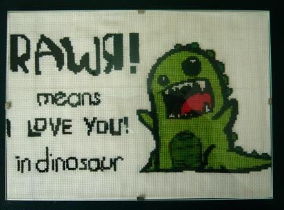 Rawr means I Love You in dinosaur cross stitch pattern