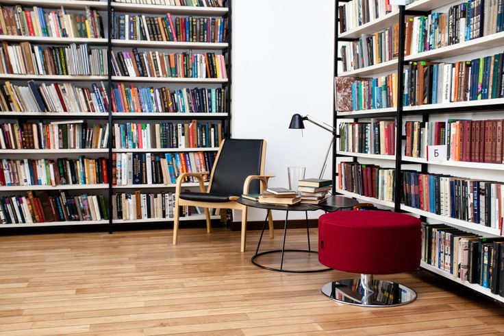 Media Library with SENAB Russia. Swedese. Open swivel stool. Breeze. Coffee table. Laminett easy chair.