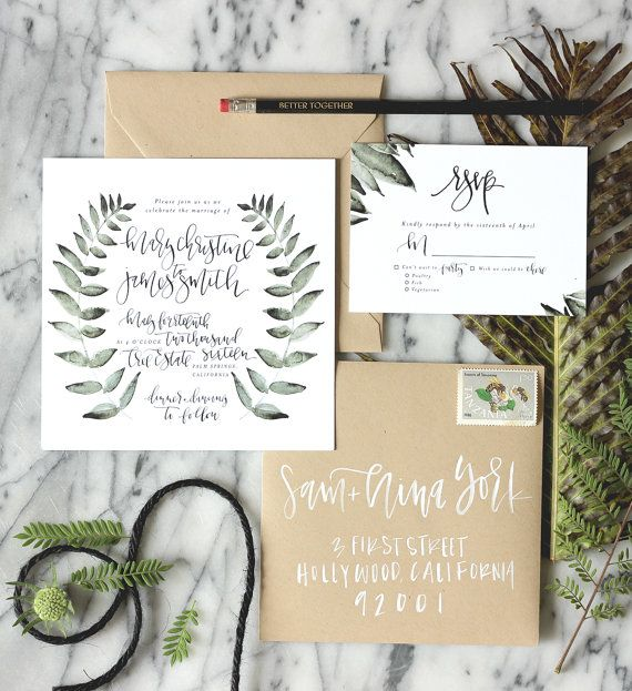 This botanical suite features custom hand lettering, a hand painted wreath and your details in a digital font to tie it all together. All pieces are created with traditional calligraphy which is created per order with your details, then incorporated this invitation and rsvp.  This design includes 1 invitation at 6 x 6 and 1 RSVP at 4 bar card size - 3 1/2 x 4 7/8  Envelopes are not included  Only the pieces shown in the images will be done in calligraphy, all other details will be added to…