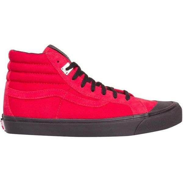 Alyx Vans OG 138 LX sneakers ($237) ❤ liked on Polyvore featuring shoes, sneakers, red, canvas trainers, rubber sole shoes, red canvas sneakers, canvas sneakers and plimsoll shoes
