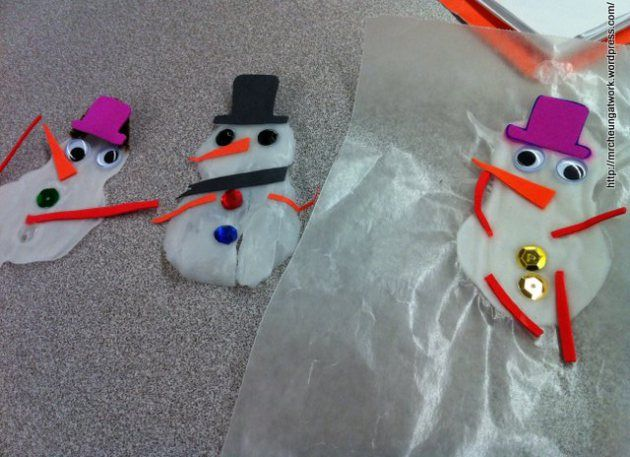 White Elmer's Glue Snowman for Christmas Tree ornaments or to hold!