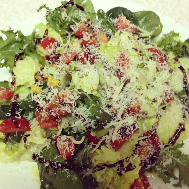 Salad. Balsamic vinegar, sprinkle on Parmesan cheese.