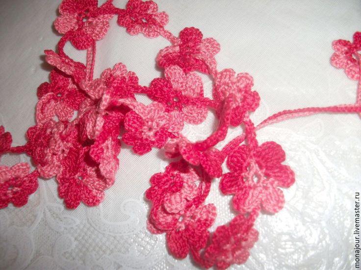 Купить Пояс вязаный крючком - ярко-красный, белый цвет, пояс вязаный, пояс к платью