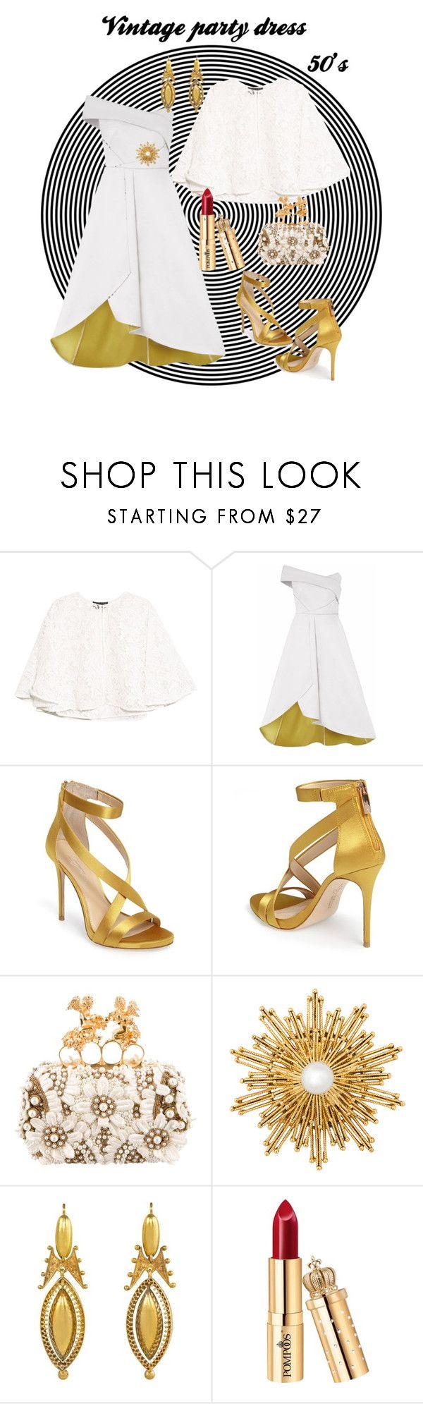 """vintage dress"" by marticarvallo ❤ liked on Polyvore featuring NOIR Sachin + Babi, Imagine by Vince Camuto, Alexander McQueen, Oscar de la Renta and vintage"