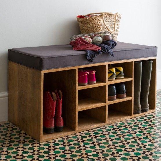 Shoe storage bench, in mango wood, W105 x H57 x D45cm, £245