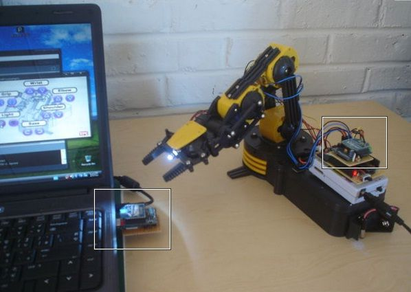 Robotic arm controlled wireless with diy arduino xbee