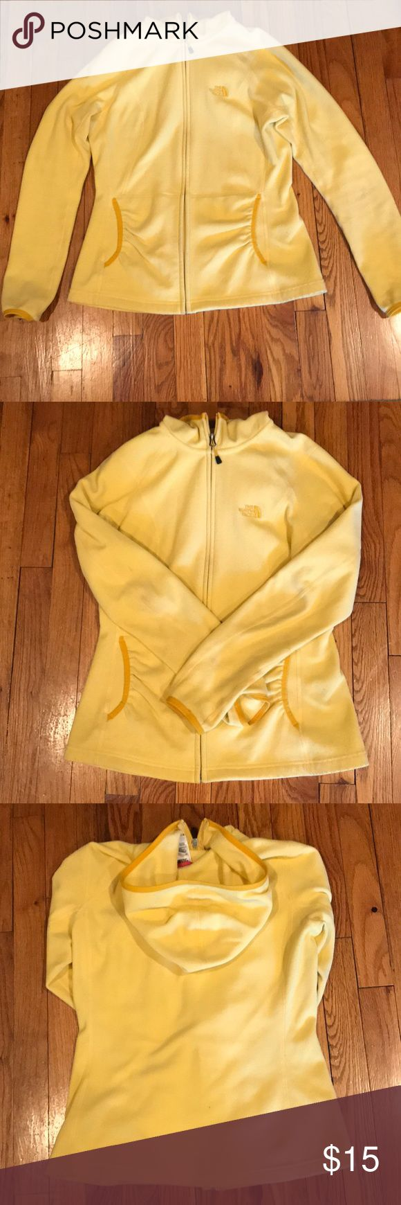 North face zip up fleece Yellow north face zip up fleece with hood. Size M The North Face Jackets & Coats