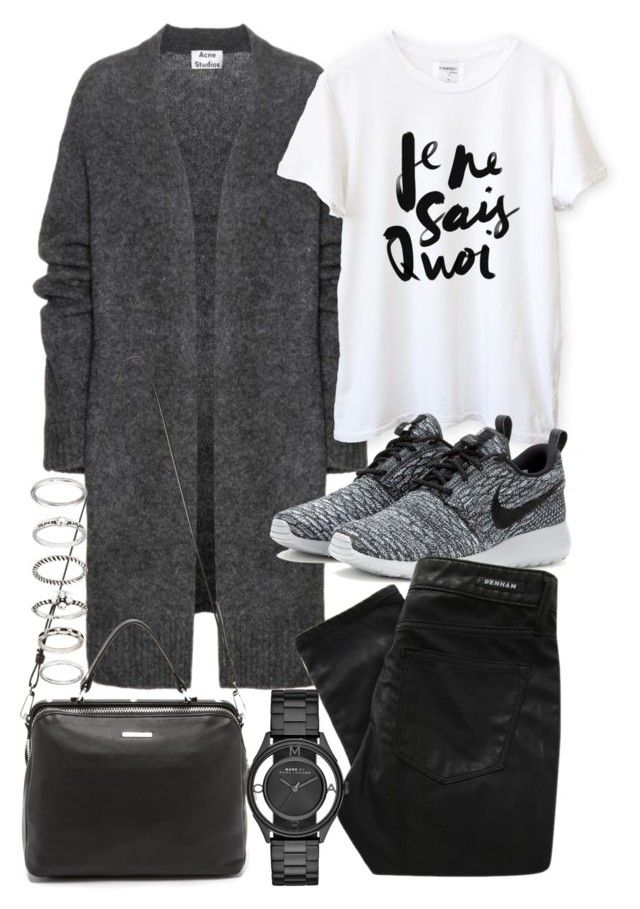 """Untitled #19157"" by florencia95 ❤ liked on Polyvore featuring Acne Studios, NIKE, Denham, Linea Pelle, Marc by Marc Jacobs and Forever 21"