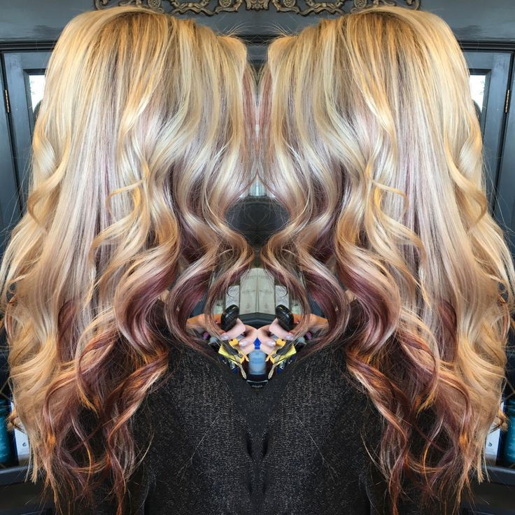 Lanza Haircolor. Blonde with peekaboo Red pieces. Highlights. Red hair.