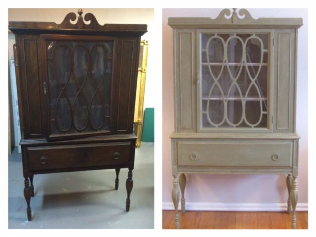 vintage green sweet makeover cabinet before caninet hutch china