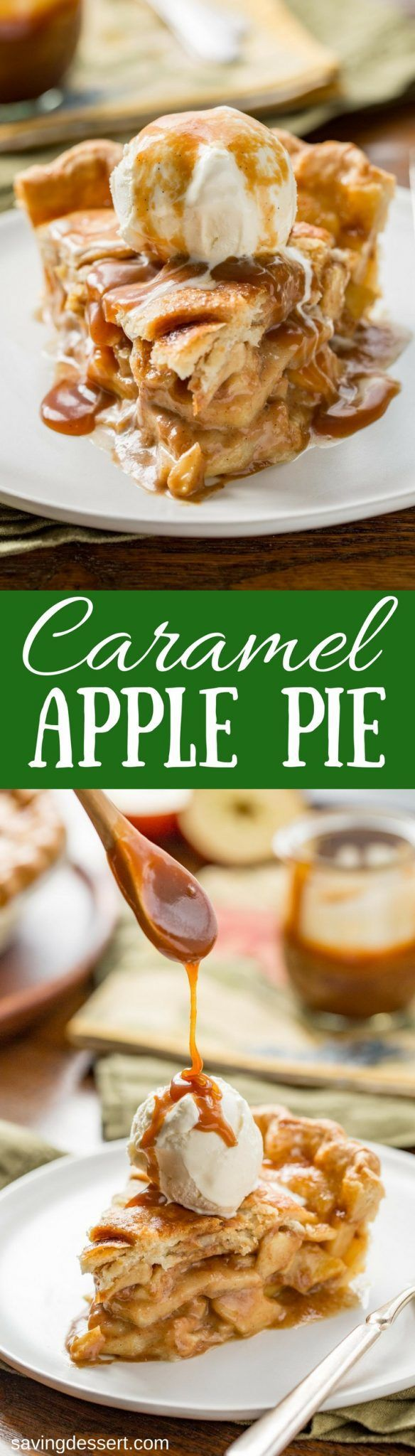 Caramel Apple Pie ~ a delicious twist on a classic apple pie. The pie is lightly sweetened with a creamy caramel sauce, then served with an extra drizzle on top. www.savingdessert.com #savingroomfordessert #applepie #pie #apple #caramelapple #caramelapplepie