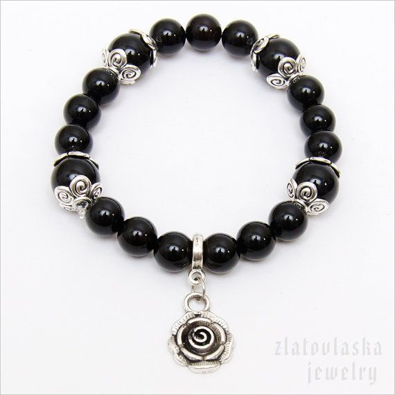 Agate Gemstone Bracelet with Rose by ZlatovlaskaJewelry on Etsy