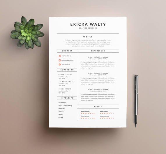 modern resume template  u0026quot ericka u0026quot   u0026 cover letter