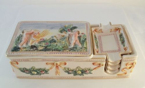 Ardalt Italy Capodimonte Cigarette Box With 4 Ashtrays