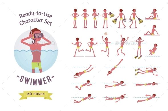Ready-to-Use Male Swimmer Character Set