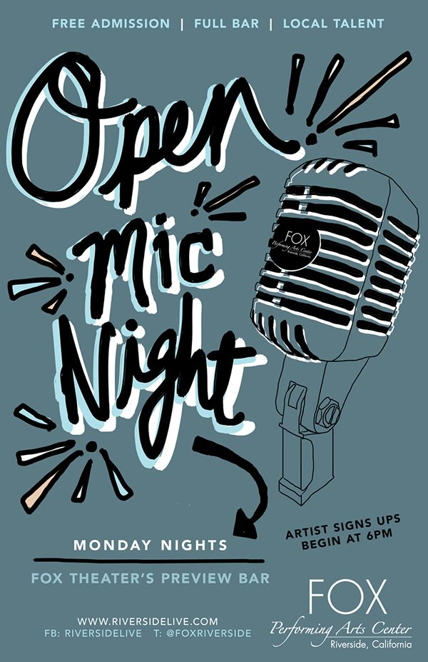 Poster Design: Cali Girl Creative Open Mic Night Poster, Fox Performing Arts
