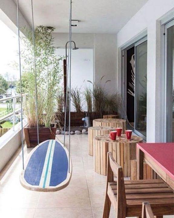 Bom dia com essa inspiração para cadeira de balanço com uma prancha de surf…