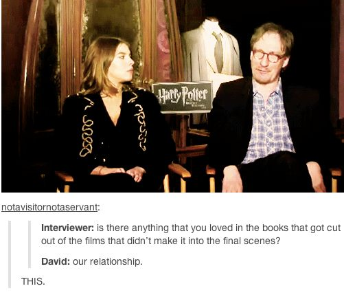 AMEN. Lupin and Tonks' relationship was turned into a single line or two in the last few films. So disappointing. They were amazing.