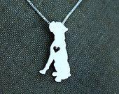 Collar de boxeador, cortadas a mano pequeño plata esterlina colgante perro con corazón
