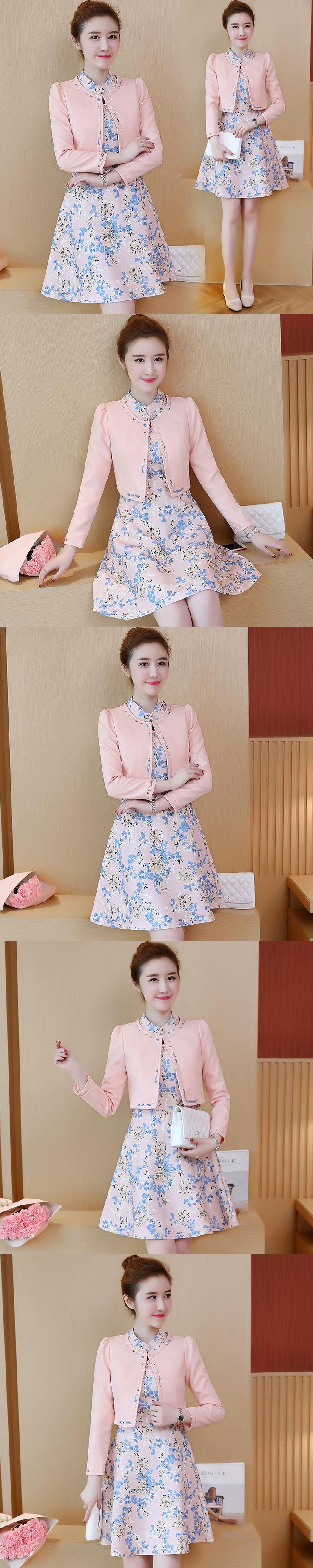 new women's clothing korean fashion office lady brief small coat & print dress two-piece suit vestidos design clothes elegant