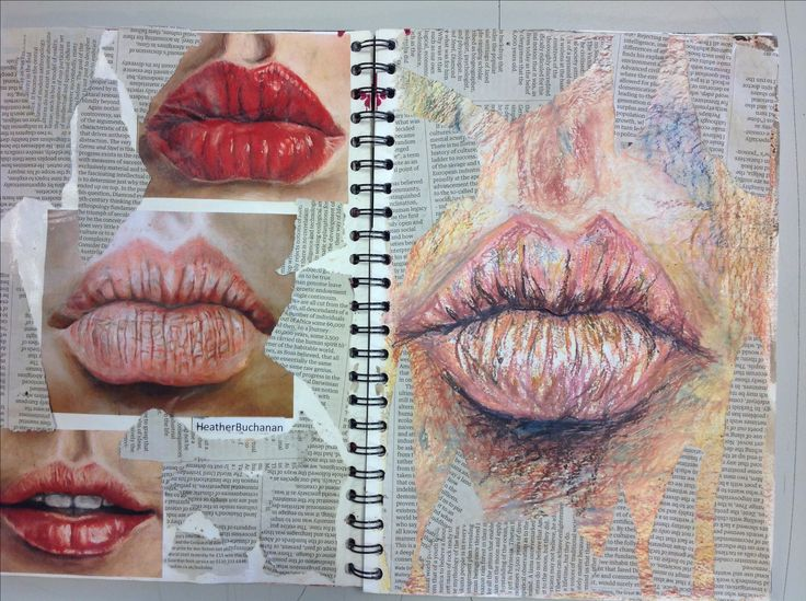 Observation of a subject matter (lips) and how different colours and textures…