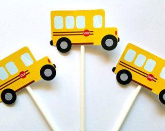 Whimsical Cute Yellow School Bus Print School Theme Wall Decor