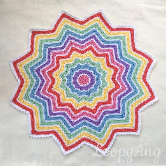 Crochet Rainbow Baby Blanket 12 Pointed Star Afghan