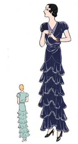 #T1515 - 1930s Evening Gown with Ruffled Tiers Sewing Pattern -Hollywood Glamour