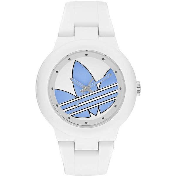 adidas Women's Aberdeen Watch ($37) ❤ liked on Polyvore featuring jewelry, watches, buckle watches, white strap watches, leather-strap watches, white watches and blue strap watches