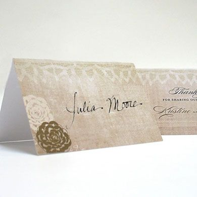 Vintage Lace Place Card With Fold - The Wedding Shoppe Canada - Ships from London, Ontario. Free shipping!