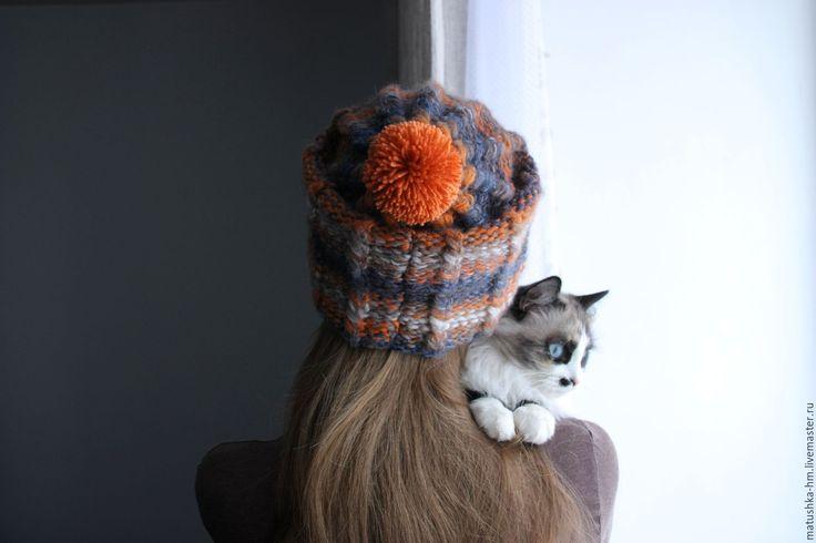 Купить Объемная шапка ручной вязки - комбинированный, в полоску, шапка спицами, шапка вязаная,knitting, knitting hat, wool