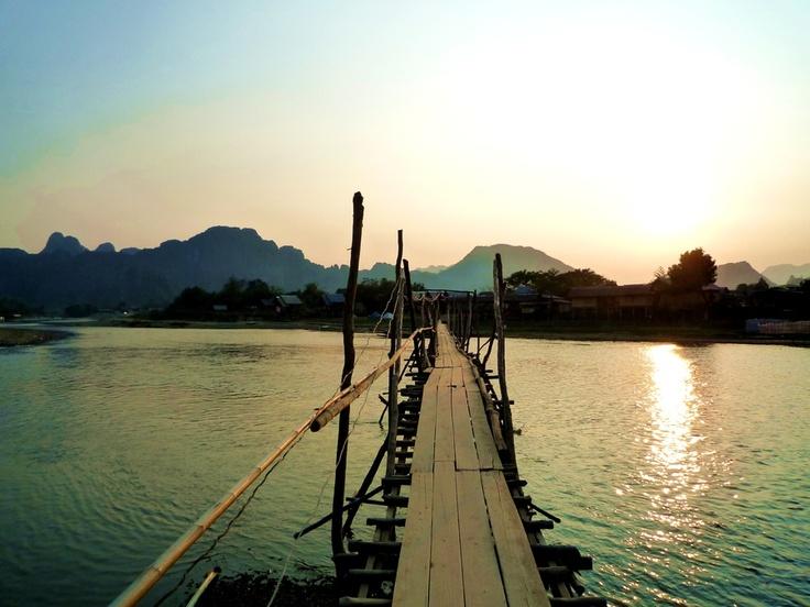 "Vang Vieng, Laos | ""Local Bridge ,Vang Vieng, Laos"" by tomeve01, via 500px."