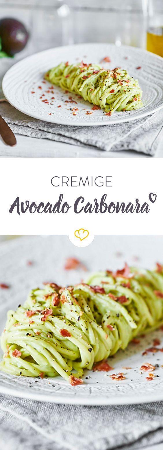 Spaghetti with avocado carbonara   – Food