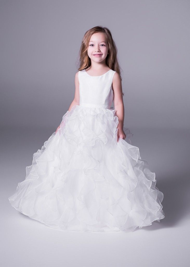 Fit for a (little) Princess! This absolutely adorable floor length ruffled #flowergirl dress with organza skirt is only at Bride&co stores (style H1281). Click to view more or Book a Free Fitting!