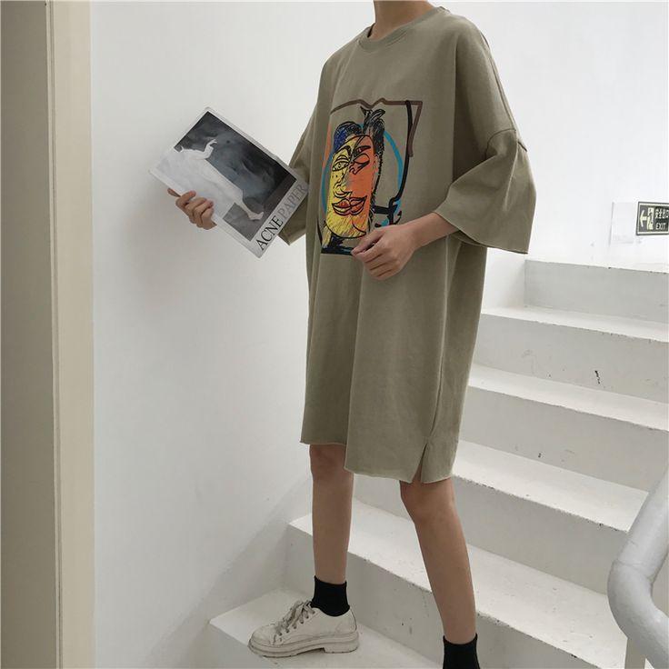 原宿系ロング丈アートプリント風ゆったり半袖Tシャツ