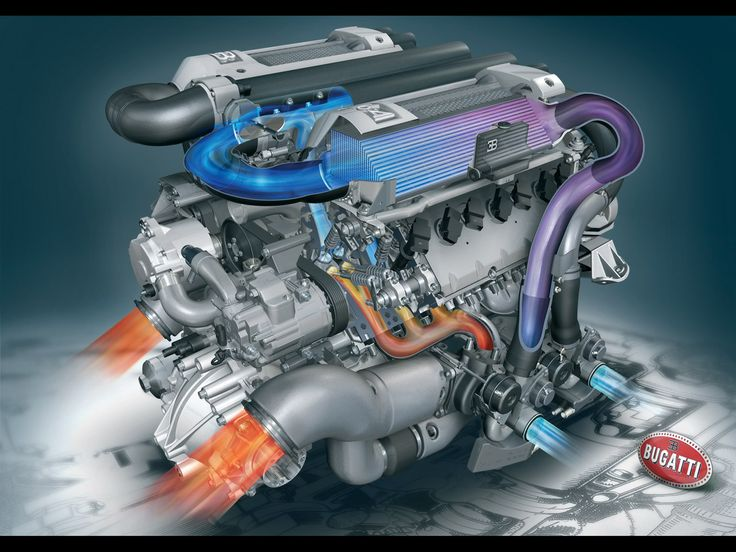 Bugatti Veyron W16 Engine 1,200 HP Quad Turbo 8 Radiators