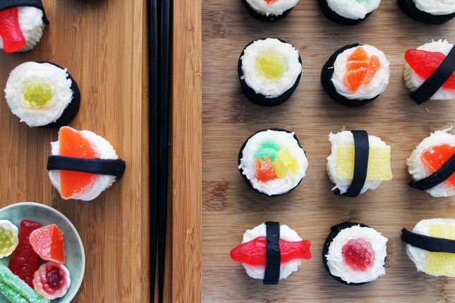 Sushi cupcakes. Topped with frosting, shredded coconut, and cleverly selected and sliced gummy candies.