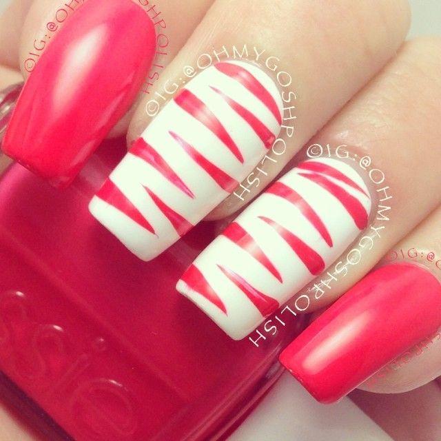 Pretty Zebra Nails by @OhMyGoshPolish -essiepolish Come Here and kesterblack French White