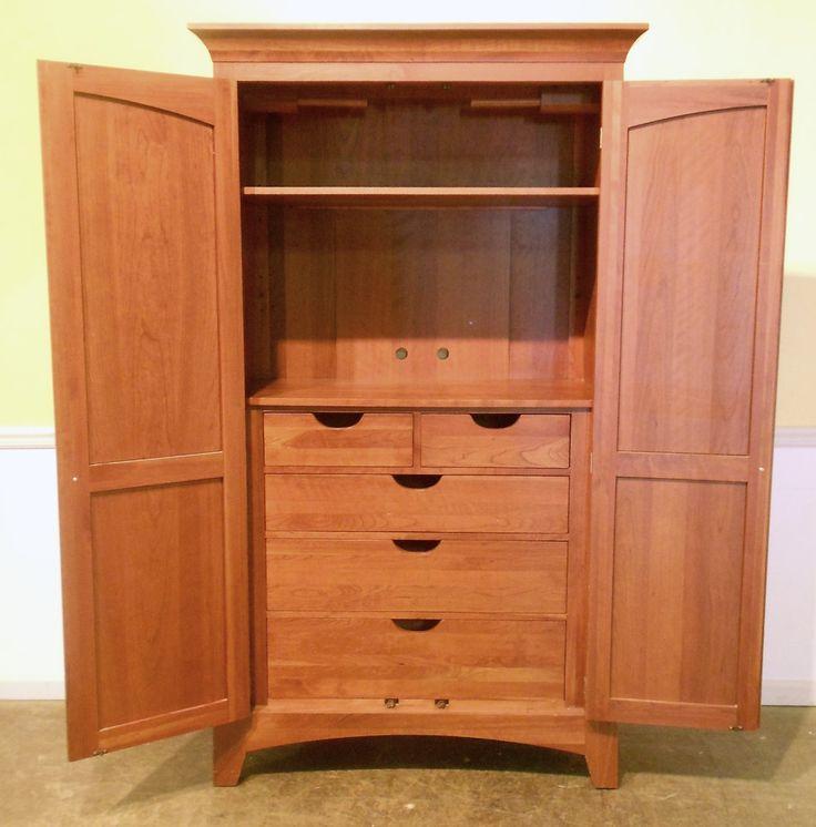 5073 59 ethan allen solid cherry bedroom armoire open jpg