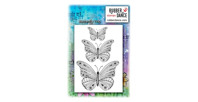 Butterfly Trio. UN-mounted, red rubber stamps. Size is about 12 x 8 cm. Largest butterfly is 8 x 5,5 cm.