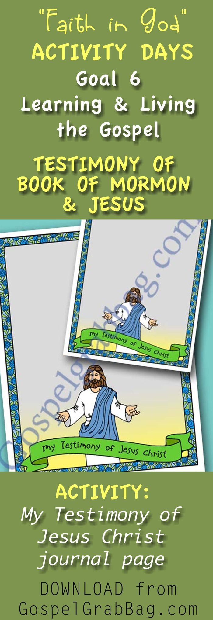 Find This Pin And More On Lds Faith In God Activity Days Ideas €� Easy Goal  Activities With Matching Invitations