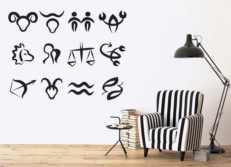 Vinyl Decal Astronomy Science Wall Stickers Symbols Zodiac Signs in Order of Sun Moon (n386)