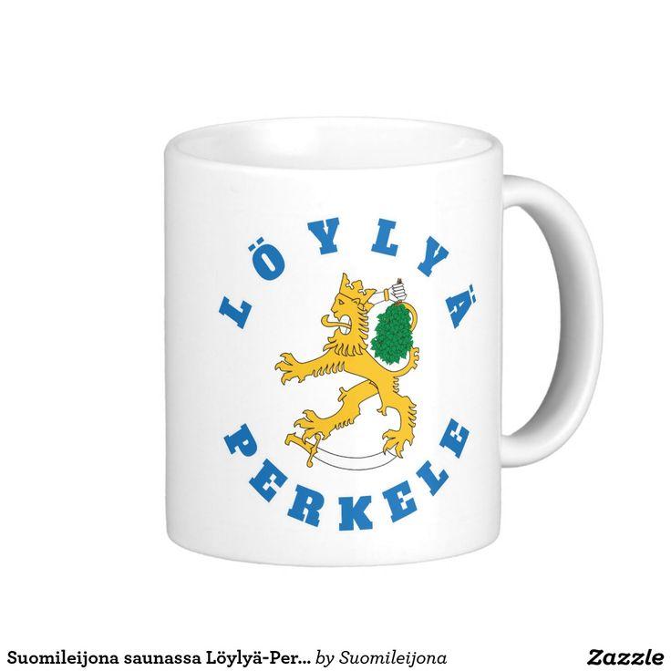 Suomileijona saunassa Löylyä-Perkele, muki Basic White Mug  #perkele #löylyä #sauna #suomi #finland #muki #suomileijona